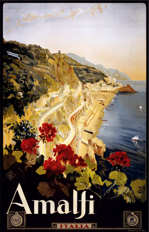 Vintage Travel Poster Amalfi Italy
