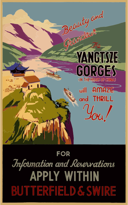 Vintage Travel Poster Yangtsze Gorges China