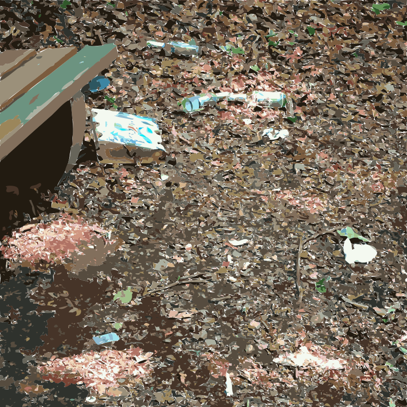 Garbage around a forest bench
