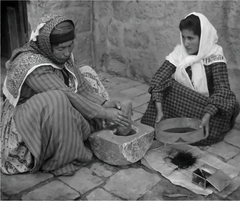Palestinian Women Grinding Coffee Beans 1905