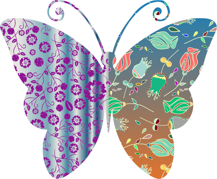 Vintage Style Floral Butterfly
