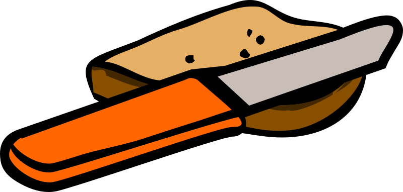 knife and piece of bread