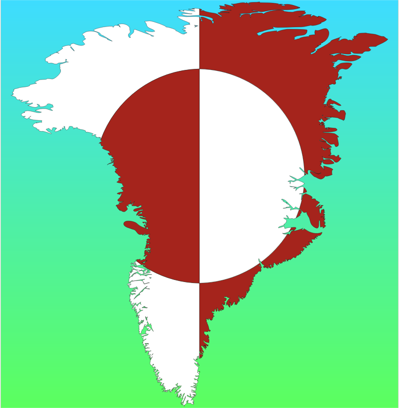 Greenland Map Flag With Background