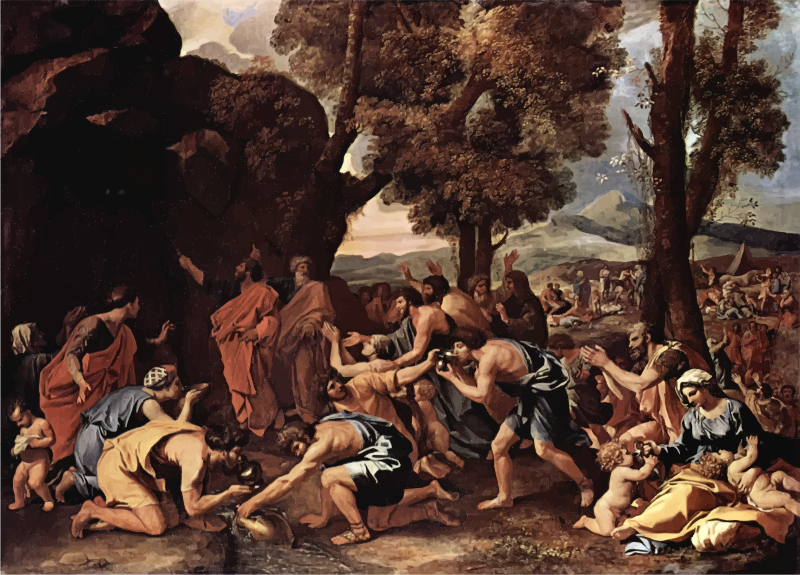 The Striking Of The Rock Nicolas Poussin
