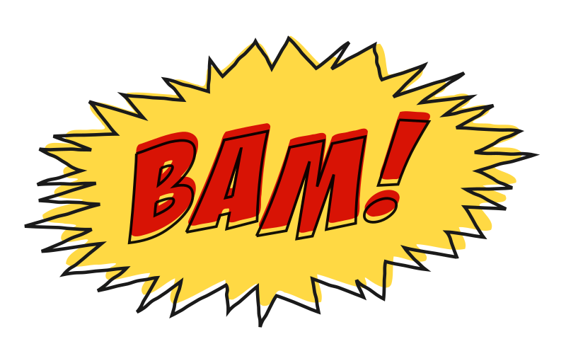 Bam comic book sound effect no background
