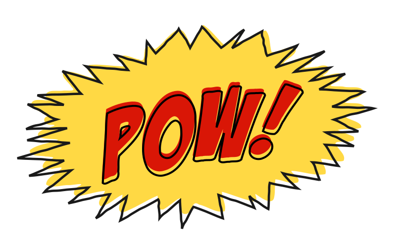 Pow comic book sound effect no background