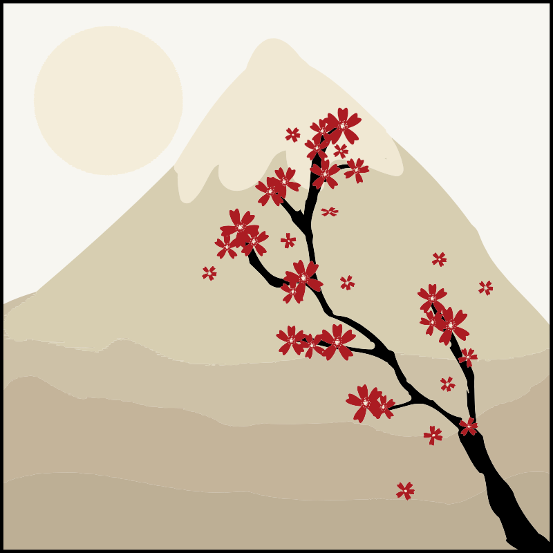 Japanese Maple Tree In The Shadow Of A Mountain