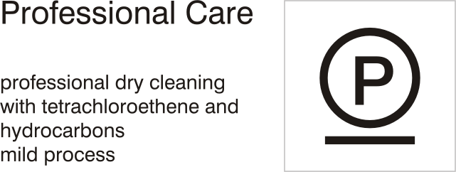 Care symbols, professional care: dry clean with tetrachloroethene and hydrocarbons - mild process