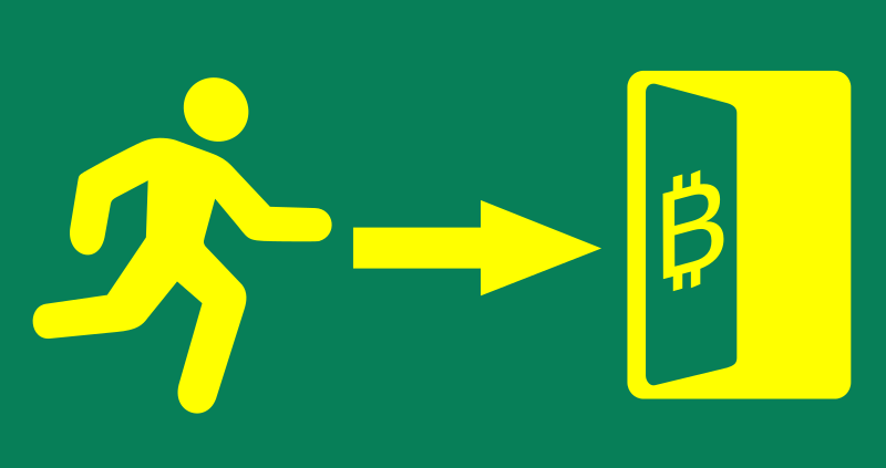 Exit Bitcoin sign