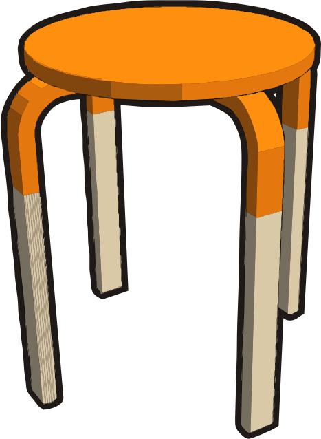 Ikea stuff - Frosta stool, half orange