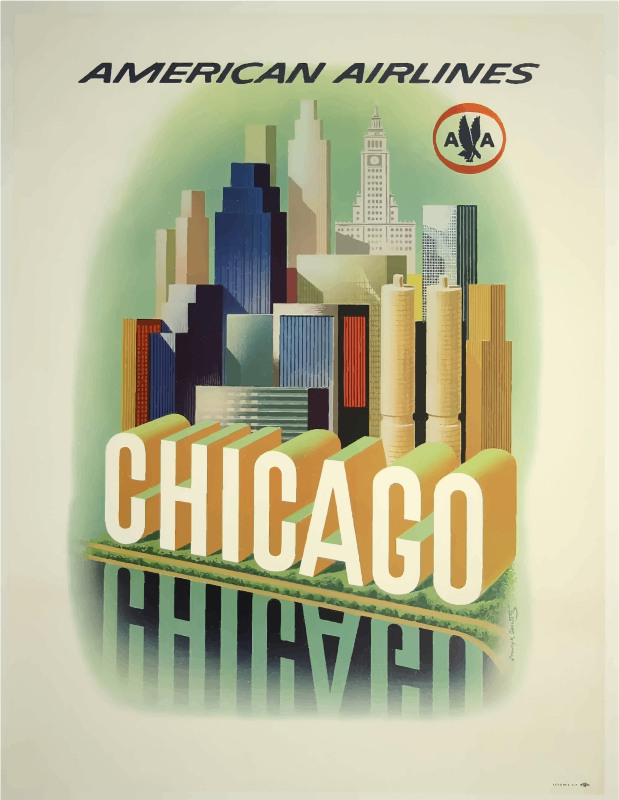 Vintage Travel Poster Chicago USA