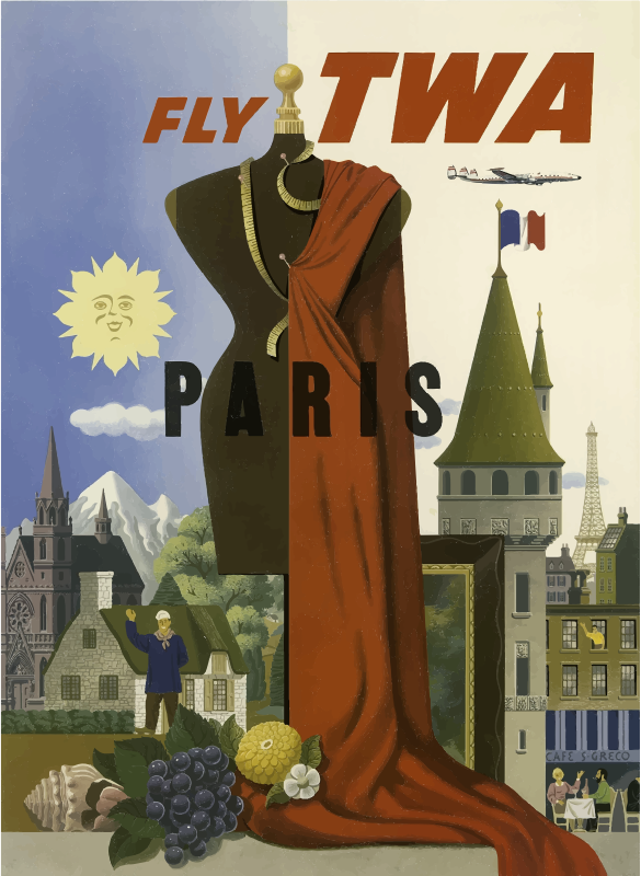 Vintage Travel Poster Paris AI
