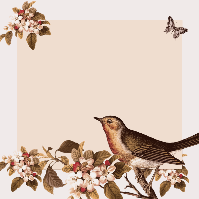 Vintage Bird And Floral Background
