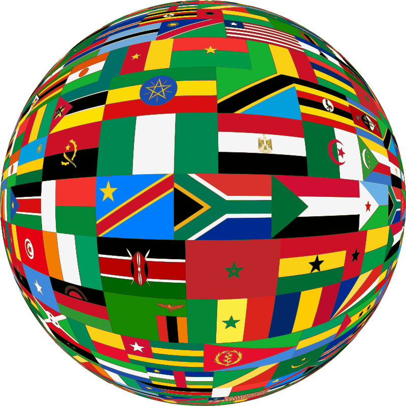 Africa flags sphere