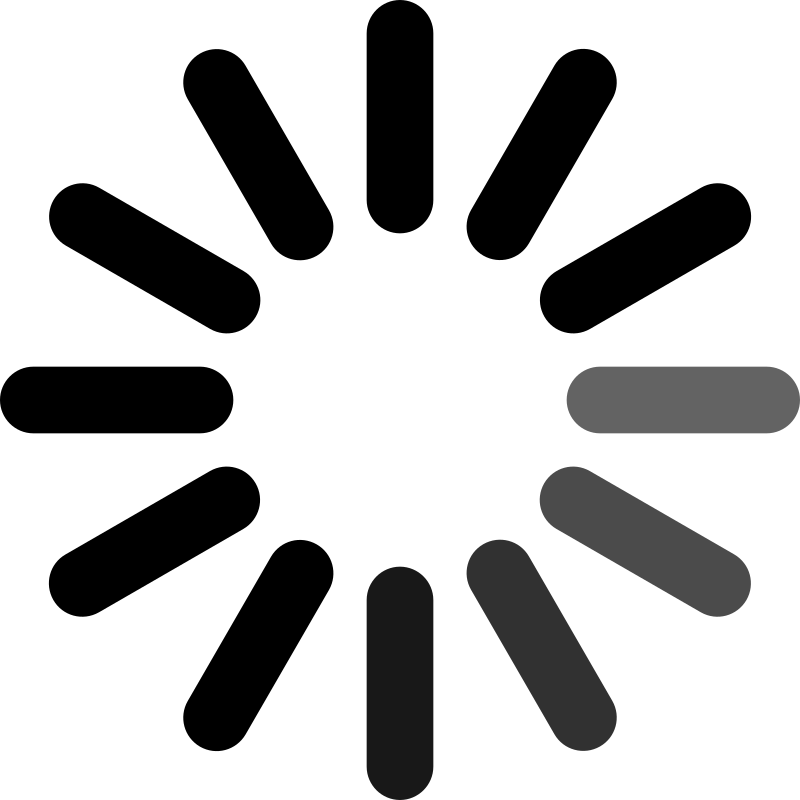 Circular loading icon with faded black dashes.