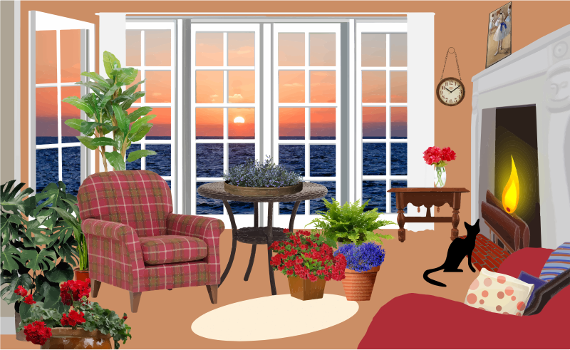 Fictional Living Room With An Ocean View