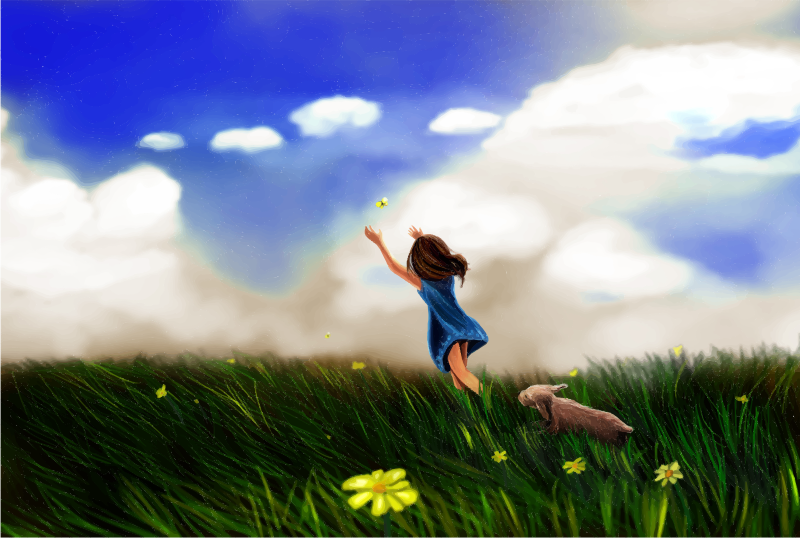 Little Girl Chasing Butterfly In An Open Field