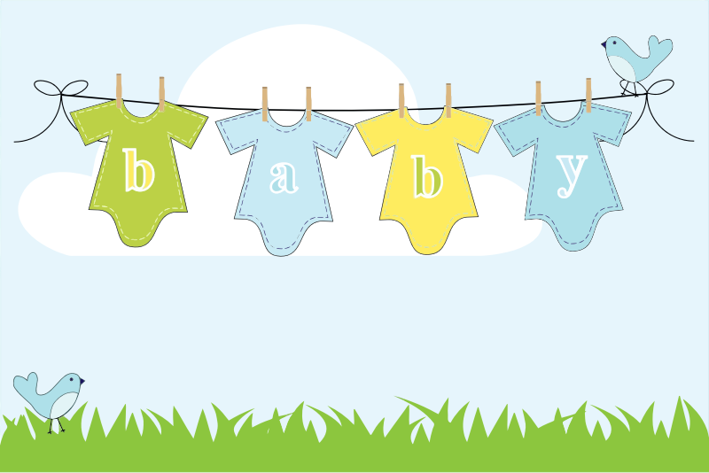 Baby Clothes Hanging On Clothesline Outside