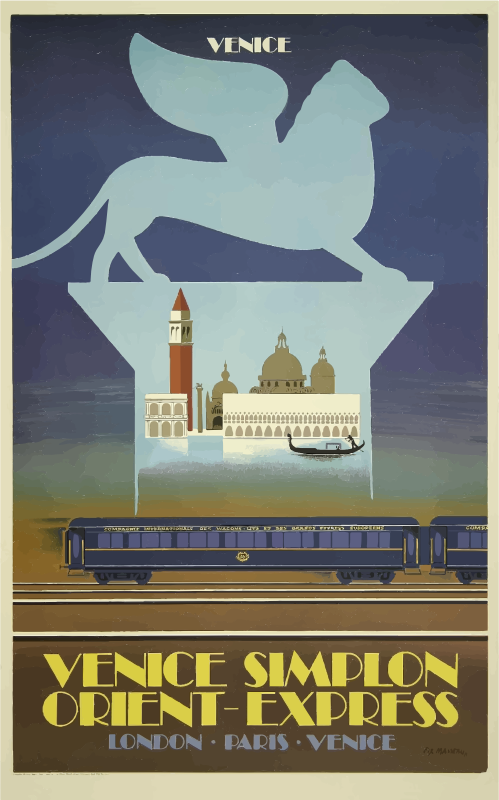 Vintage Travel Poster Venice Orient Express