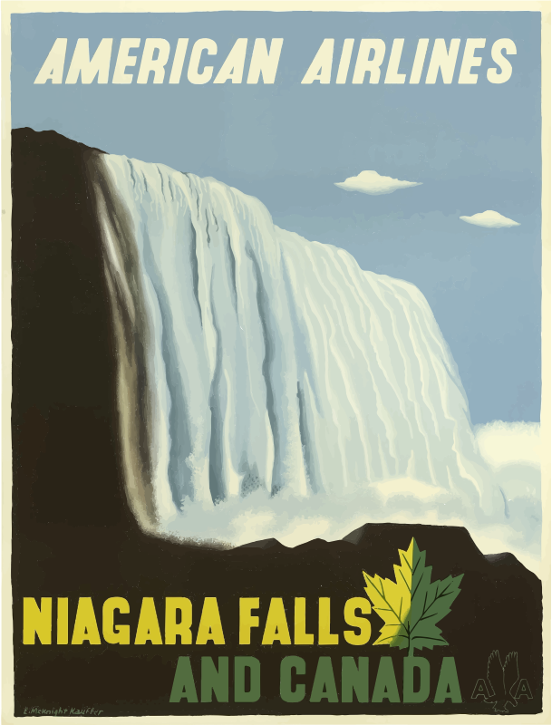 Vintage Travel Poster Niagara Falls And Canada