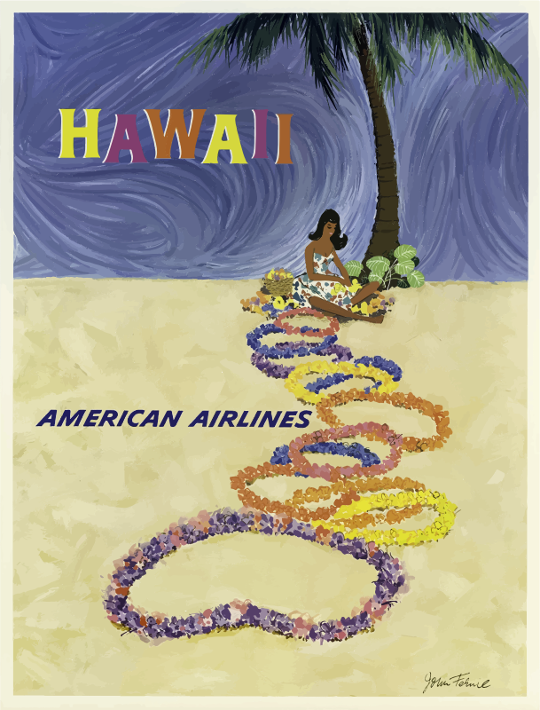 Vintage Travel Poster Hawaii 5