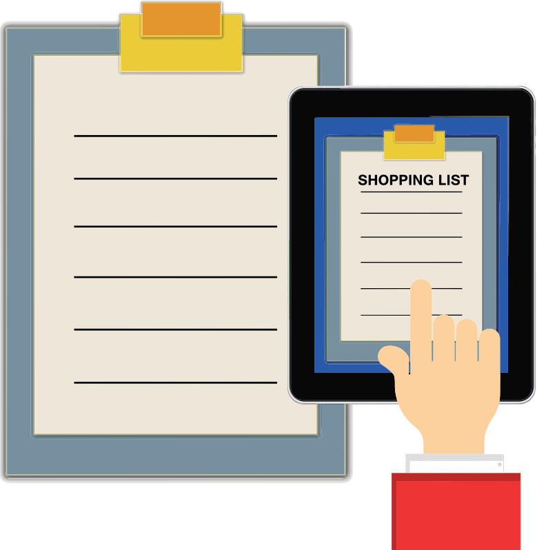 Shopping List Clipboard Tablet