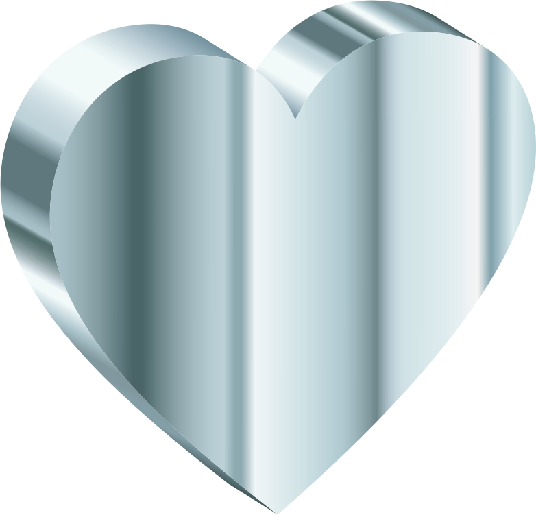 3D Heart Of Silver