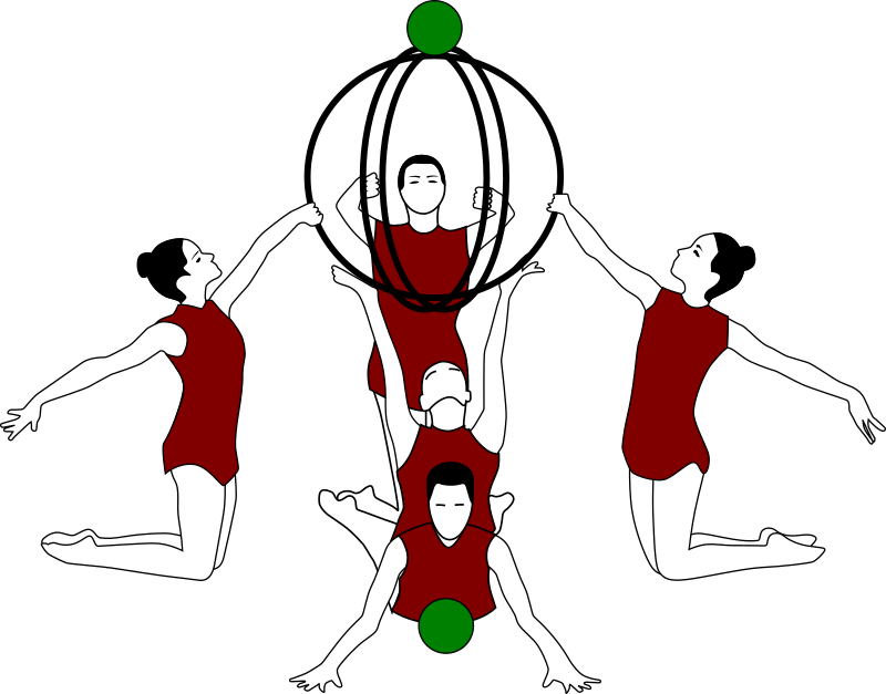 Rhythmic gymnastics with bows and ball