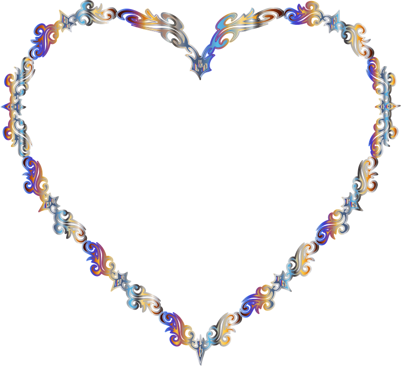 Colorful Fancy Decorative Line Art Heart 2