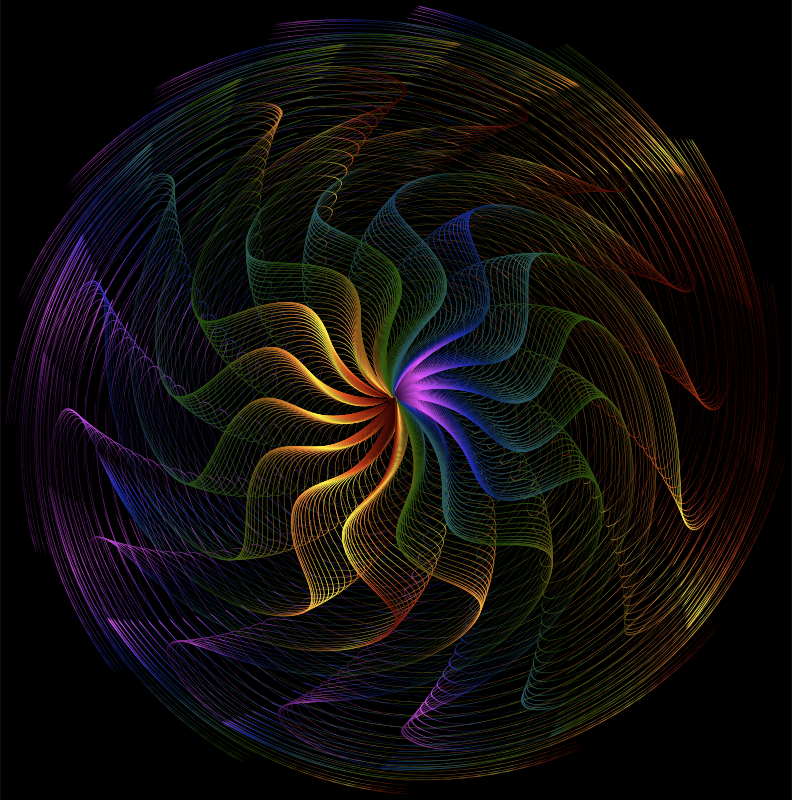Colorful Wavy Vortex Line Art