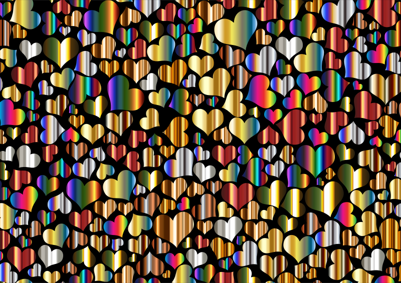 Shiny Metallic Hearts Background