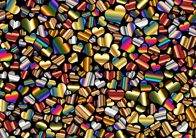 Shiny Metallic Hearts Background 3