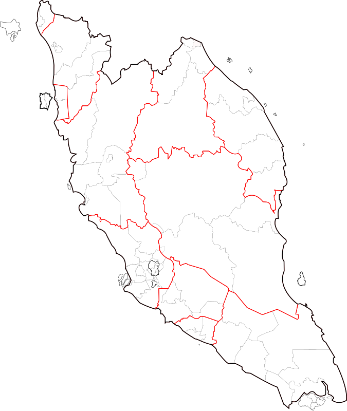 Blank map of Peninsular Malaysia (fixed and updated)