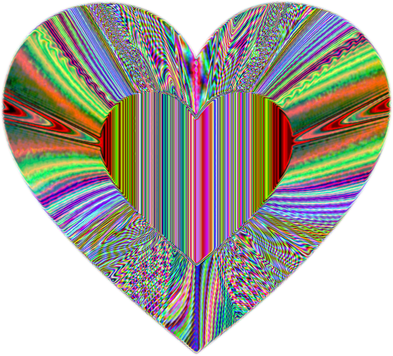 Colorful Refraction Heart Psychedelic