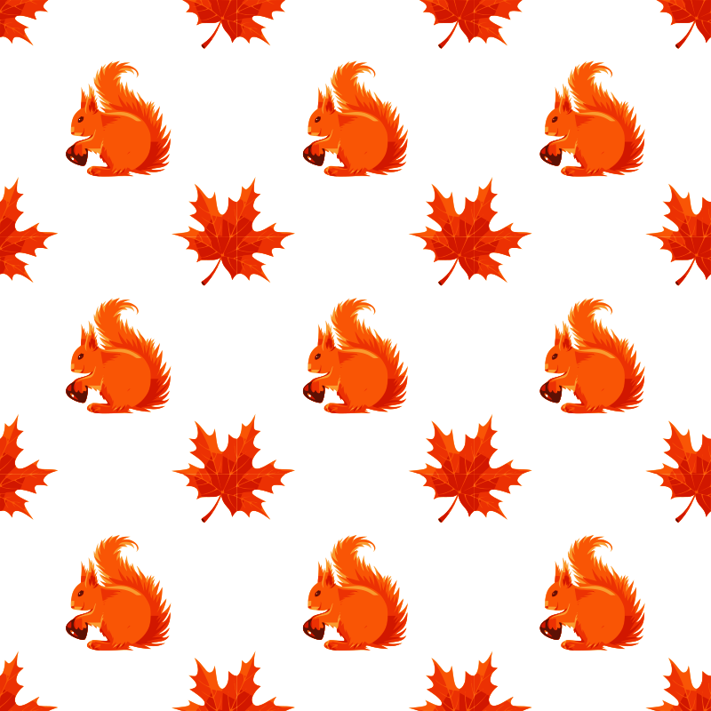 Maple and squirrel seamless pattern