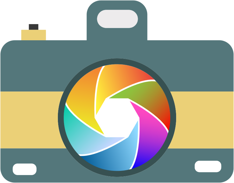 Camera Icon With Colorful Shutter