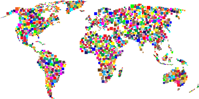 Colorful Squares World Map