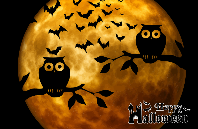 Happy Halloween Full Moon Background