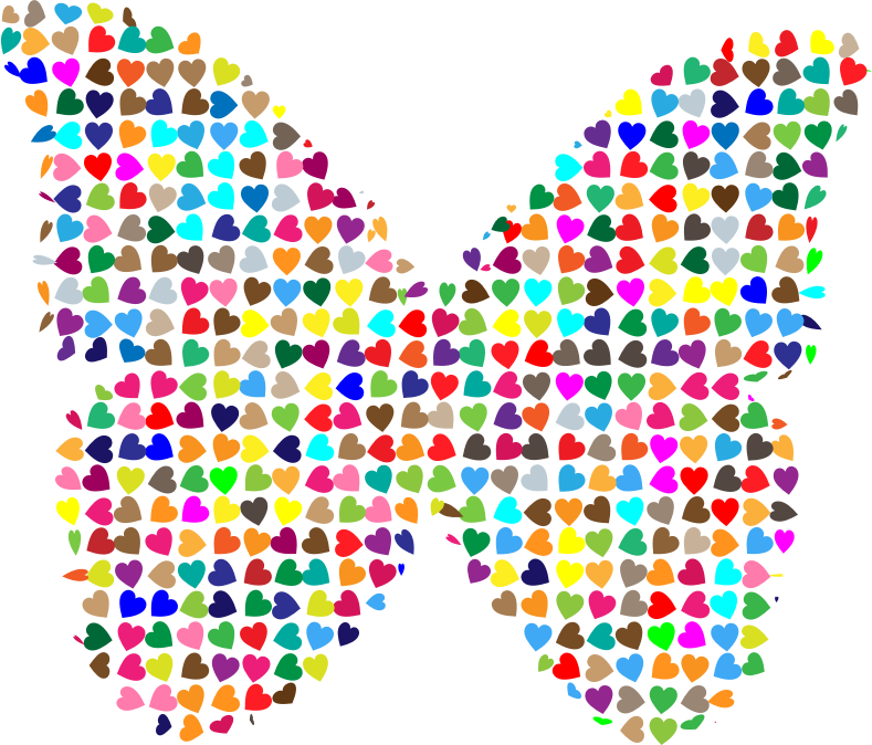 Chaotic Colorful Hearts Butterfly