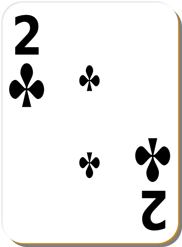 White deck: 2 of clubs