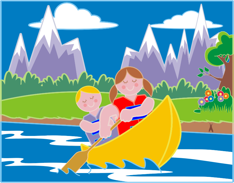 Girl And Boy Canoeing In Idyllic Landscape