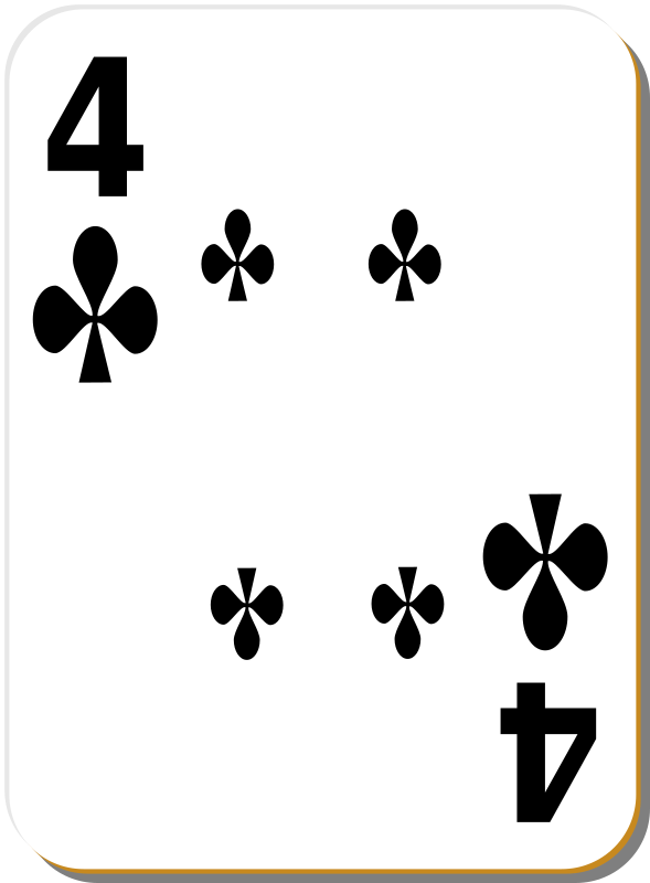 White deck: 4 of clubs