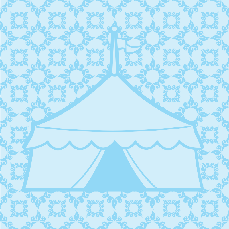 Blue Patterned Circus Tent