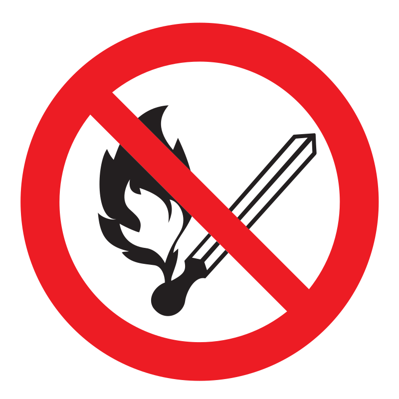 sign forbidden to use open fire and smoke