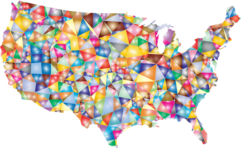 Colorful Low Poly America USA Map