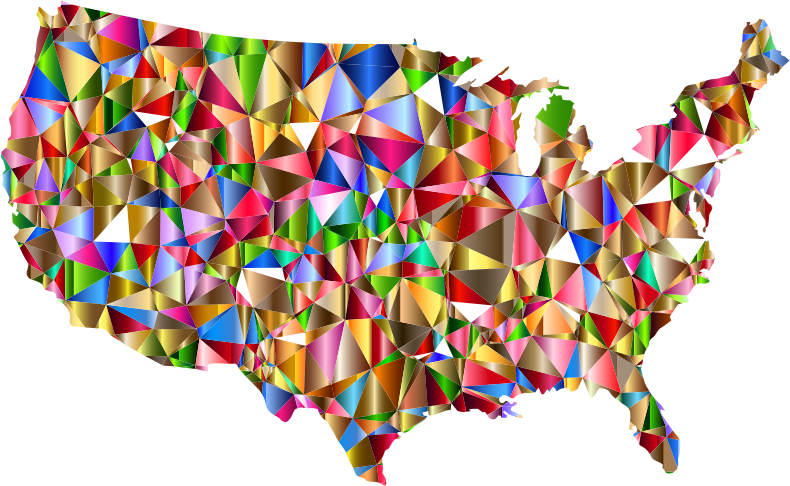 Vibrant Colorful Low Poly America USA Map