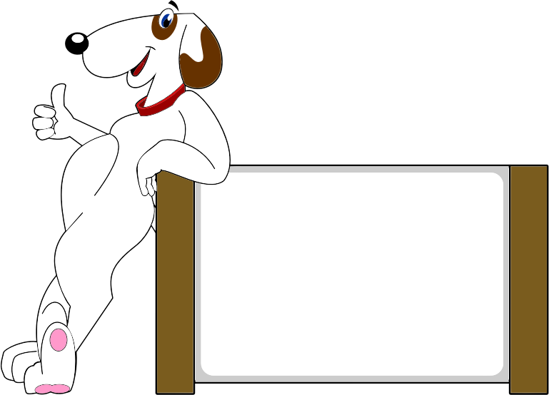 Upbeat Anthropomorphic Dog With Sign