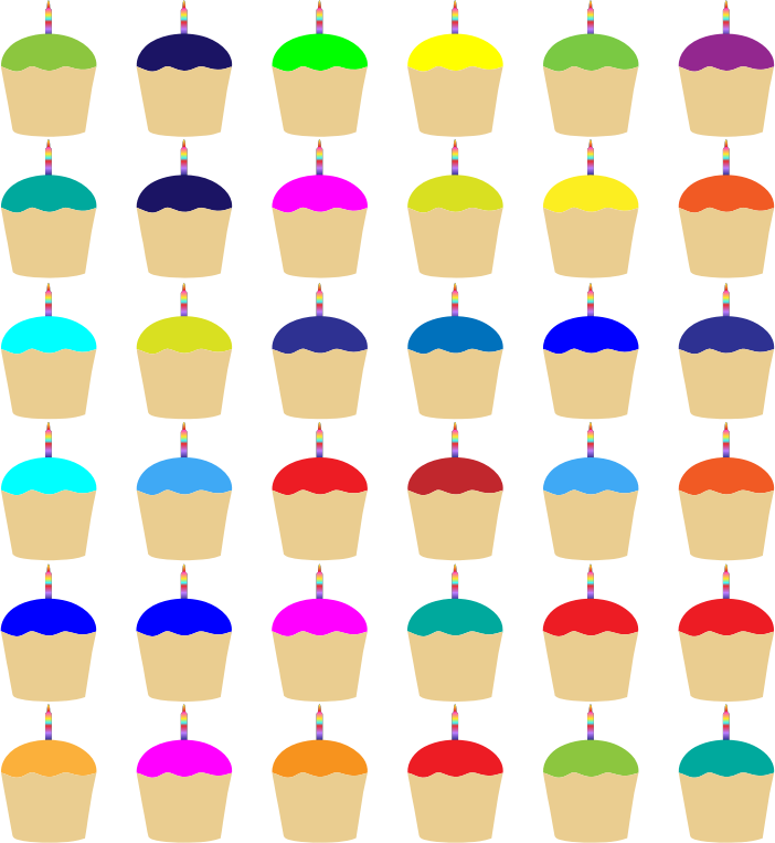 Colorful Cupcakes With Candles Pattern