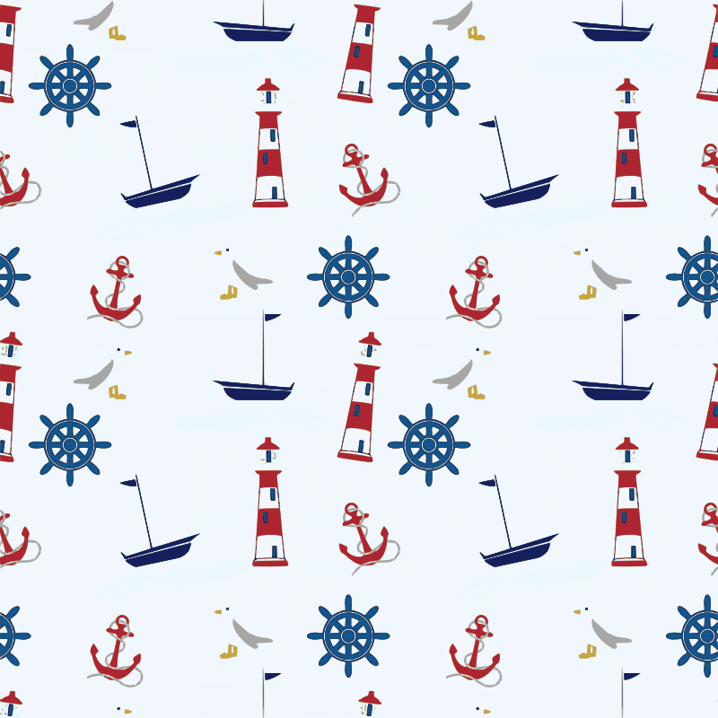 Sea-related seamless pattern