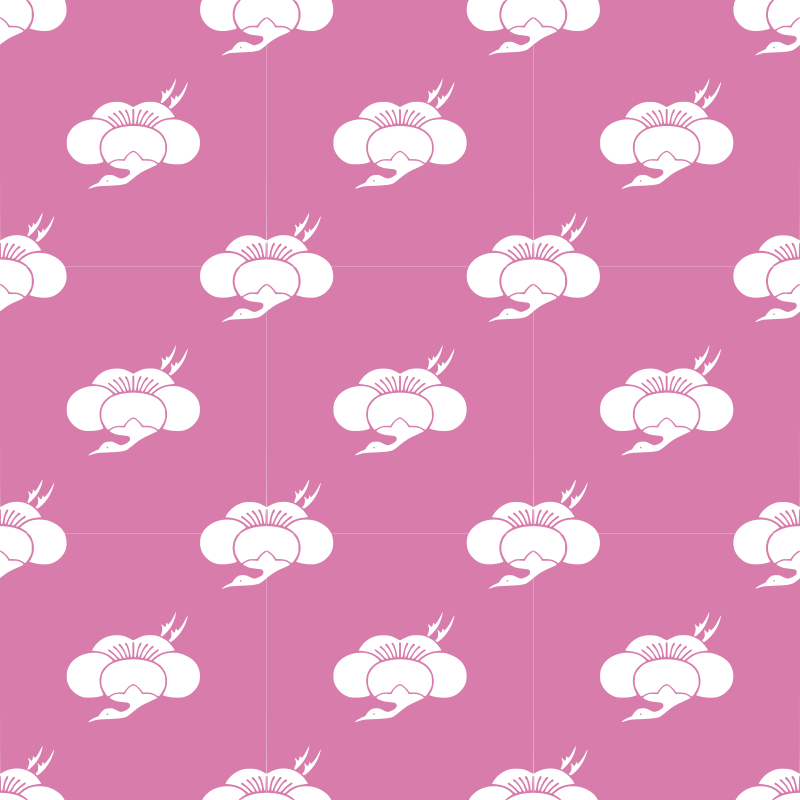 Plum and crane-seamless pattern